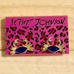 Betsey Johnson Gold Rhinestone Crab Earrings